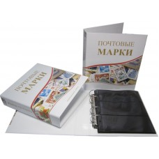 Альбом вертикальный 230х270 мм, Почтовые марки (с комплектом из 5-ти листов), Оптима