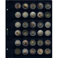 """Универсальный лист для памятных монет 2 Евро, серии """"КоллекционерЪ"""" (с неподписанными ячейками)"""
