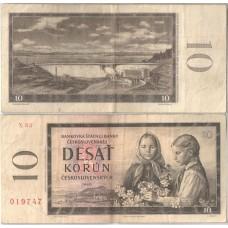 Банкнота Чехословакия 10 Крон 1960 год.