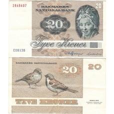 Банкнота Дания 20 Крон 1972 год.
