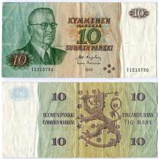 Банкнота Финляндия 10 Марок 1980 год