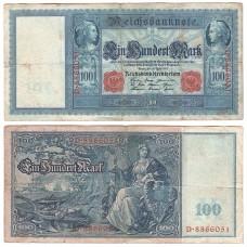 Банкнота Германия 100 Марок 1910 год, красная печать