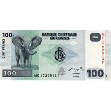 Банкнота Конго 100 франков 2007 год.