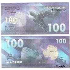 Банкнота Земля Уилкса 100 долларов 2014 год. Пресс