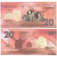 Банкнота Земля Уилкса 20 долларов 2014 год. Пресс
