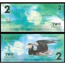 Банкнота Земля Уилкса 2 доллара 2014 год.