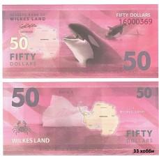 Банкнота Земля Уилкса 50 долларов 2014 год. Пресс