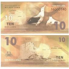 Банкнота Земля Уилкса 10 долларов 2014 год.
