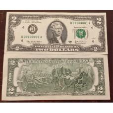 Банкнота 2 доллара  2003 год. США (D, пресс)