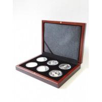 Деревянный футляр Volterra (194х149х32 мм) для 6 монет в капсулах (диаметр 44 мм)
