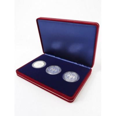 Футляр замшевый (182х128х34 мм) на 3 монеты в капсулах (диаметр 44 мм), синий