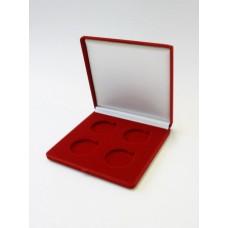 Футляр (165х165х27 мм) на 4 монеты в капсулах (диаметр 44 мм). Исполнение в виде квадрата, синий