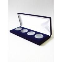 Футляр (255х103х27 мм) для 4 монет в капсулах (диаметр 46 мм), синий