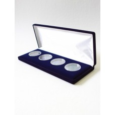 Футляр (255х103х27 мм) для 4 монет в капсулах (диаметр 44 мм), синий