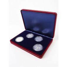 Футляр замшевый (182х128х34 мм) на 4 монеты в капсулах (диаметр 44 мм), синий