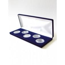 Футляр (255х103х27 мм) для 5 монет в капсулах (диаметр 44 мм), синий