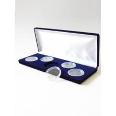 Футляр (255х103х27 мм) для 5 монет в капсулах (диаметр 46 мм), синий