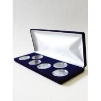 Футляр (255х103х27 мм) для 6 монет в капсулах (диаметр 46 мм), синий
