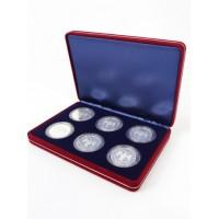 Футляр замшевый (182х128х34 мм) на 6 монет в капсулах (диаметр 46 мм), синий