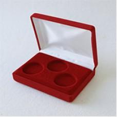 Футляр (142х102х42 мм) на 3 монеты в капсулах (диаметр 46 мм), бордо