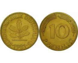 10 пфеннигов 1981 год. ФРГ (двор G)