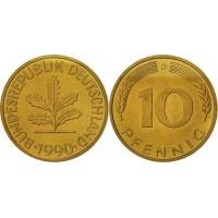 10 пфеннигов 1990 год. ФРГ (двор D)