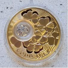 2 доллара 2013 год. Ниуэ. Монета на удачу. Четырехлистный клевер, серебро с позолотой