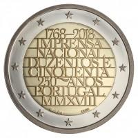 2 евро 2018 год. Португалия. 250 лет Национальной типографии