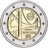 2 евро 2016 год. Португалия. 50-летие моста имени 25 апреля.