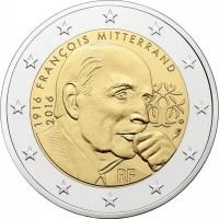 2 евро 2016 год. Франция. Франсуа Миттеран.