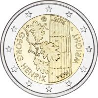 2 евро 2016 год. Финляндия. 100 лет со дня рождения Георга Хенрика фон Вригта.