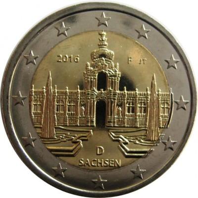 2 евро 2016 год. Германия. Земля ФРГ: Саксония (Дворец Цвингер, Дрезден). (F)