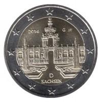 2 евро 2016 год. Германия. Земля ФРГ: Саксония (Дворец Цвингер, Дрезден). (G)