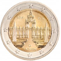 2 евро 2016 год. Германия. Земля ФРГ: Саксония (Дворец Цвингер, Дрезден). (D)