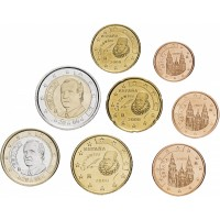Испания. Набор евро монет. 2008 год.