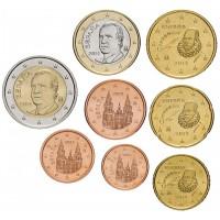 Испания. Набор евро монет. 2014 год.