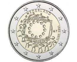 2 евро 2015 год. Нидерланды. 30 лет флагу Европейского Сообщества.
