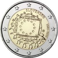 2 евро 2015 год. Словакия. 30 лет флагу Европейского Сообщества.