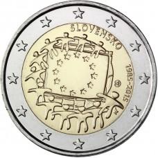 2 евро 2015 год. Словакия. 30 лет флагу Еропейского Сообщества.