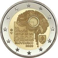 2 евро 2020 год. Словакия. 20 лет вступлению Словакии в ОЭСР
