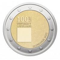 2 евро 2019 год. Словения. 100 лет основанию Люблянского университета