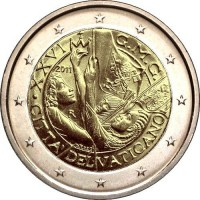 2 евро 2011 год. Ватикан «XXVI Всемирный день молодёжи в Мадриде» в буклете