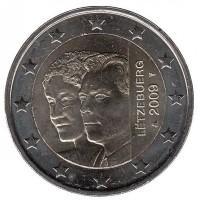 2 евро 2009 год. Люксембург. 90 лет вступления на престол Герцогини Шарлотты.