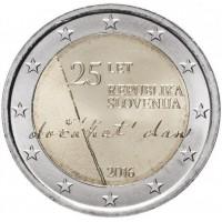 2 евро 2016 год. Словения. 25 лет независимости Словении.