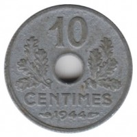 10 сантимов 1944 год. Франция.