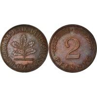 2 пфеннигa 1969 год. ФРГ (двор F)