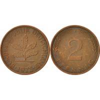 2 пфеннигa 1973 год. ФРГ (двор F)
