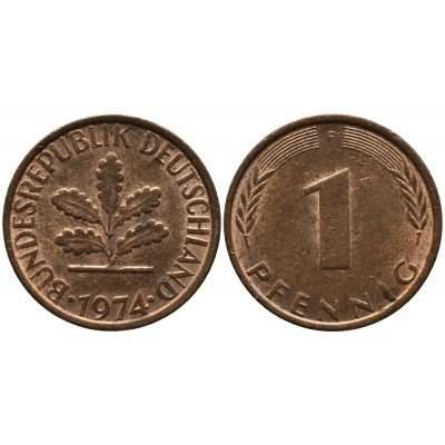 2 пфеннигa 1974 год. ФРГ (двор F)