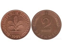 2 пфеннигa 1991 год. ФРГ (двор G)