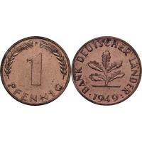 1 пфенниг 1949 год. ФРГ (двор F)